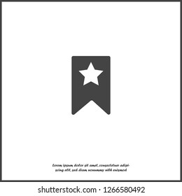 Bookmark with star on white isolated background. Layers grouped for easy editing illustration