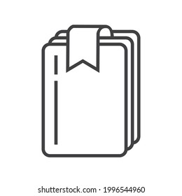 Bookmark tag, label icon vector in outline style. Bookmark line symbol for reference, paper, documents. Sign of chapter, note, paragraph, notebook. E-reading, e-library simple illustration.