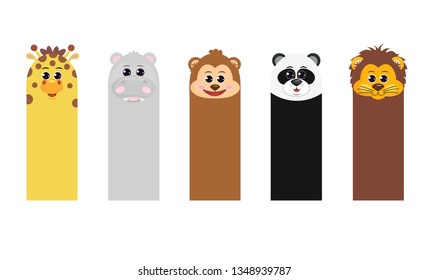 Bookmark template for children's books. Vertical cards with animals: giraffe Hippo monkey Panda lion. Set in cartoon style. Bookmark paper stickers collection. Vector illustration.