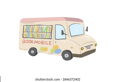 Bookmobile, Book Bus, Mobile Library Vector Illustration
