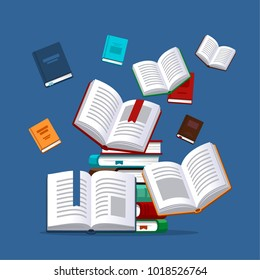 Books background concept. Vector illustration in flat style.