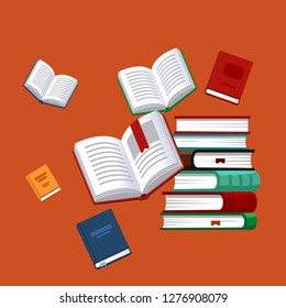 Books background. Science textbook. Research poster. Vector illustration.