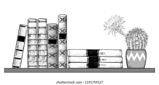 Books And A Blossoming Cactus On Bookshelf Vector Drawing In Vintage Style Isolated