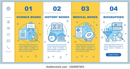 Books catalogue onboarding mobile web pages vector template. Book genres. Responsive smartphone website interface idea with linear illustrations. Webpage walkthrough step screens. Color concept