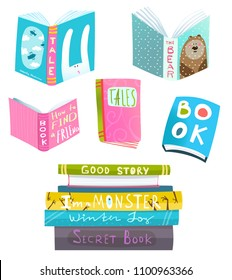 Books collection clipart for design. Colorful books set isolated. Vector clip art.