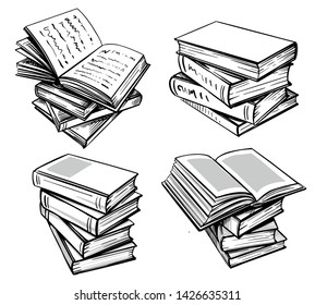 Books collection. Hand drawn illustration in sketch style