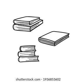 books contour doodle on the white background