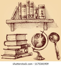 Books and education set.  A wooden shelf of books, earth globe, magnifying glass, stack of various books