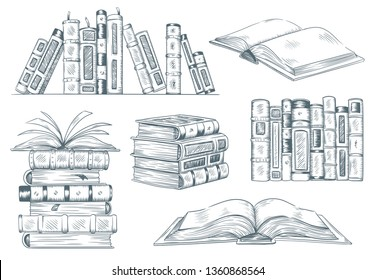 Books engraving. Vintage open book engrave sketch drawn. Hand drawing student reading textbook. Sketched notebook or literature library books sketching. Vector illustration isolated signs set