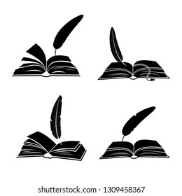 Books and feathers silhouette vector isolated on white background. Feather ink and open book isolated illustration