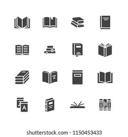 Books flat glyph icons. Reading, library, literature education vector illustrations. Signs for e-book store, textbook, encyclopedia.