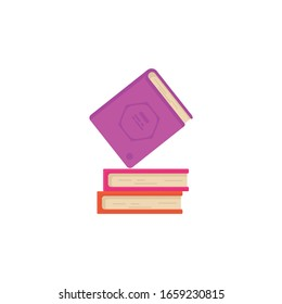 books flat icon. vector illustration