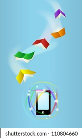 Books fly toward phone