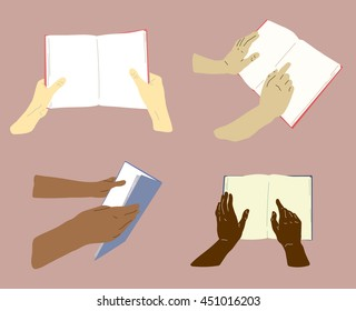Books in hands 2, vector flat magazine illustration. Four images of hands holding books.