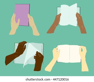 Books in hands, vector flat magazine illustration. Four images of hands holding books.
