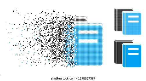 Books icon in disappearing, dotted halftone and undamaged entire variants. Pieces are grouped into vector dissolving books icon. Disappearing effect uses rectangular dots.
