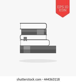 Books icon. Flat design gray color symbol. Modern UI web navigation, sign. Illustration element