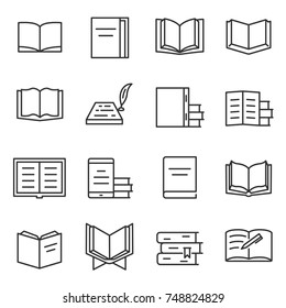 Books icon set. Printed publications, literature , linear design. Line with editable stroke