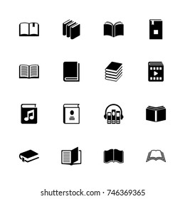 Books icons - Expand to any size - Change to any colour. Flat Vector Icons - Black Illustration on White Background.