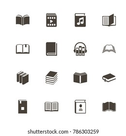 Books icons. Perfect black pictogram on white background. Flat simple vector icon.