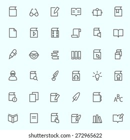 books icons, simple and thin line design