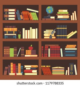 Books in library bookcase. Encyclopedia book at bookshelf. Pile textbooks, bookstore shelf and science magazines books at bookshelves, school education flat vector background illustration