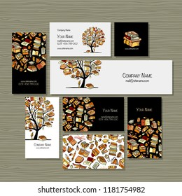 Books library, business cards design