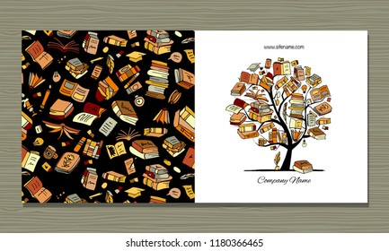 Books library, greeting card design