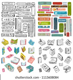 Books Library Reading Objects Collection. Books outline and colored naive style hand drawn bundle. Vector design.