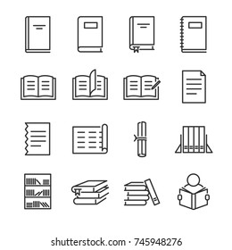 Books line icon set. Included the icons as book shelf, stack, read, notebook and more.