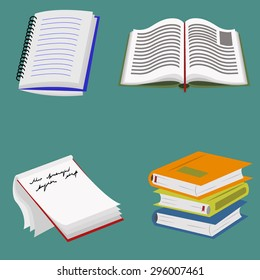 Books and notebooks vector illustration set