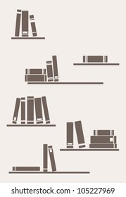 Books on the shelf - simply retro vector illustration. Vintage objects for decorations, background, textures or interior wallpaper. Brown bookshelves on the wall