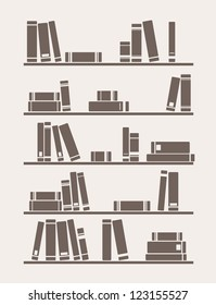 Books on the shelf vector simply retro school or library illustration. Vintage objects for decorations, background, textures or interior wallpaper.