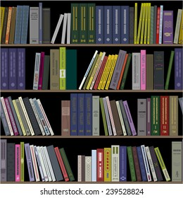 Books on shelves as seamless pattern for libraries or bookstores