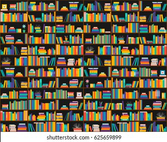 Books on shelves, seamless pattern. Bookcase, library. Vector illustration. Education, training, literature. Flat design.