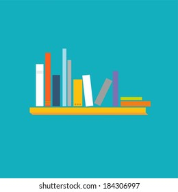 Books on the shelves - vector abstract illustration