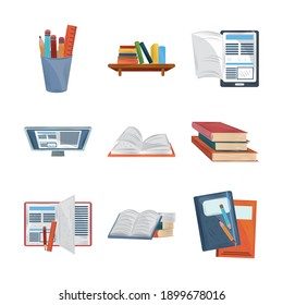 books online literature study learn education academic icons set vector illustration