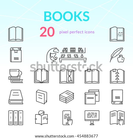 Books Outline Icon Set 20 Thin Stock Vector Royalty Free 454883677