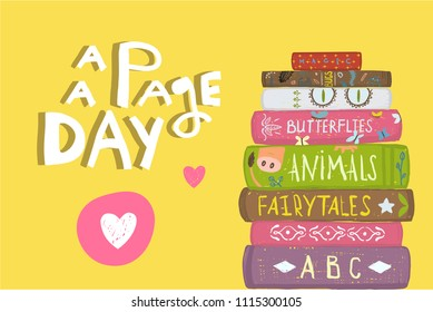 Books and Pages Fun Literature Design. Colorful background for greeting card or library. Vector cartoon.