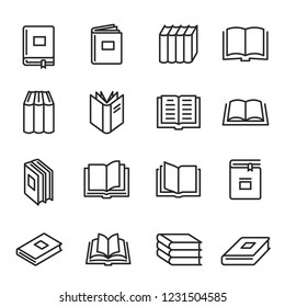 Books paper printed literature for reading and study. Cardboard books with information, stories, or poetry. Vector line art illustration isolated on white background