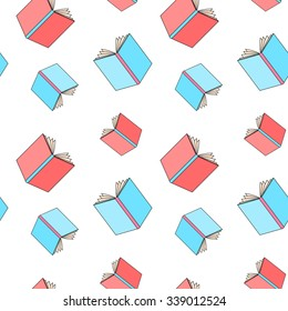 books pattern seamless colored vector