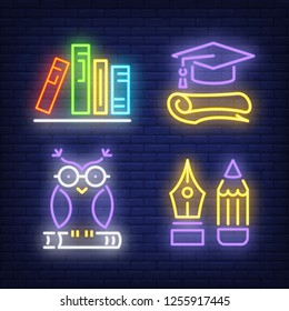 Books, pencil, owl, graduate cap neon signs set. Education and knowledge design. Night bright neon sign, colorful billboard, light banner. Vector illustration in neon style.