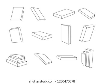 packaging set outline illustration 16 packaging stock illustration Pillow Carrier Bags books in perspective vector image of books