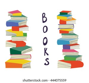 Books piles background for the educational card, vector illustration design