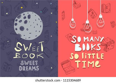 Books Quotes Leaflets designs. Ready Template for cards flysheets, flyer. Vector illustration.