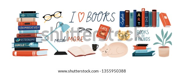 Books and reading set. Textbooks for academic studies, cute cats, houseplant, glasses. Bundle of decorative design elements isolated on white background. Flat cartoon colorful vector illustration.