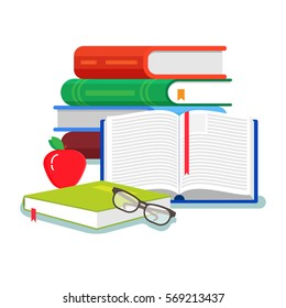 A lot of books. School education and knowledge concept. Colorful flat style cartoon vector illustration isolated on white background.