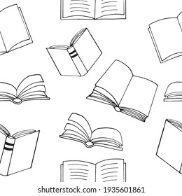 books seamless pattern. hand drawn doodle style. vector, minimalism, monochrome, sketch. wallpaper, textile, wrapping paper background reading education bookstore science
