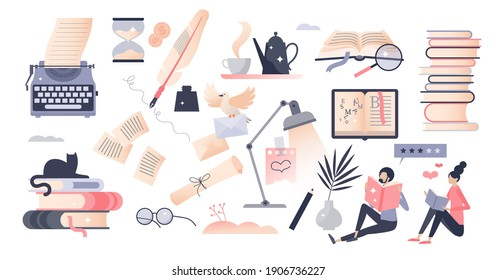 Books set as elements with literature reading and writing tiny person concept. Object bundle with publishing work, school or university education learning and novels loving items vector illustration.