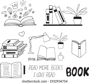 books set icon. sketch hand drawn doodle style. vector, minimalism, monochrome. library, learning reading lettering